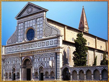 D'après l'église Santa Maria Novella, arcs et galerie, Leon Battista Alberti, 1458-1470, Florence, XVe siècle, Quattrocento, Renaissance italienne. (Marsailly/Blogostelle)