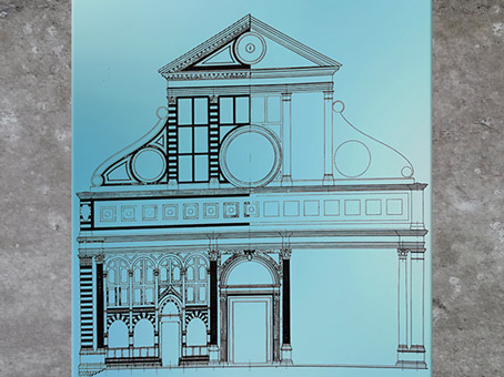 D'après l'église Santa Maria Novella, coupe, Leon Battista Alberti, 1458-1470, Florence, XVe siècle, Quattrocento, Renaissance italienne. (Marsailly/Blogostelle)