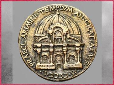 """D'après la médaille Matteo de' Pasti, projet de Leon Battista Alberti, """"temple des Malatesta"""", 1450, Rimini, XVe siècle, Quattrocento, Renaissance italienne. (Marsailly/Blogostelle)"""