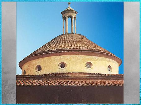 D'après la chapelle Pazzi, tambour et oculi, Santa Croce, Filippo Brunelleschi, vers 1430, Florence, XVe siècle, Quattrocento, Renaissance italienne. (Marsailly/Blogostelle)