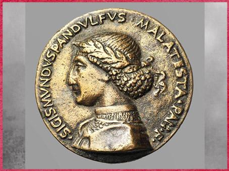 D'après l'effigie de Sigismondo Pandolfo Malatesta, médaille de Matteo de'Pasti, projet d'Alberti, 1450, Rimini, XVe siècle Quattrocento, Renaissance italienne. (Marsailly/Blogostelle)
