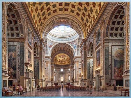 D'après l'église Sant'andrea, nef et chapelles intérieures, architecte Leon Battista Alberti, 1472-1490, Mantoue, XVe siècle, Quattrocento, Renaissance italienne. (Marsailly/Blogostelle)