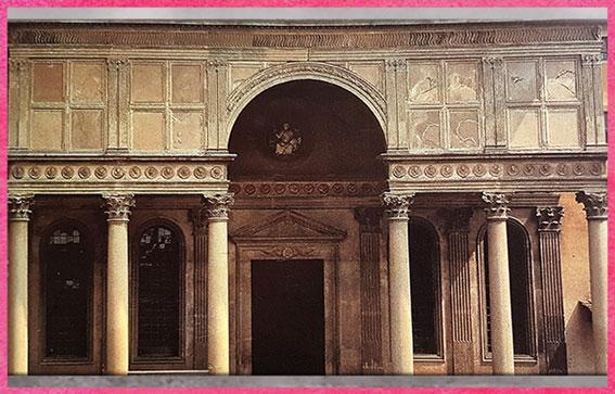 D'après la chapelle Pazzi, façade, Santa Croce, Filippo Brunelleschi, vers 1430, Florence, XVe siècle, Quattrocento, Renaissance italienne. (Marsailly/Blogostelle)