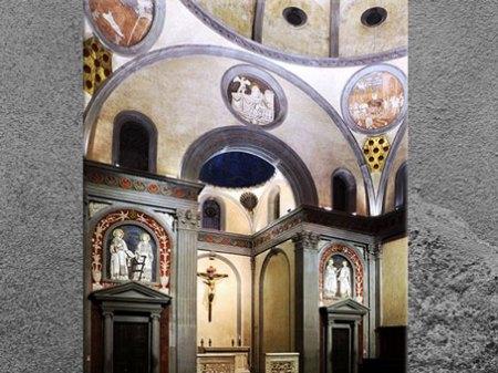 D'après la vieille sacristie de San Lorenzo, Brunelleschi, Florence, XVe siècle, Quattrocento, Renaissance italienne. (Marsailly/Blogostelle)
