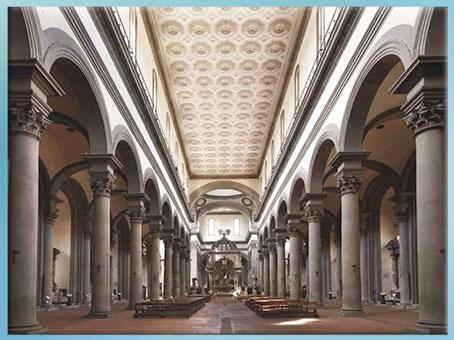 D'après la basilique Santo Spirito, nef, plans de Brunelleschi, vers 1444, Florence, XVe siècle, Quattrocento, Renaissance italienne. (Marsailly/Blogostelle)