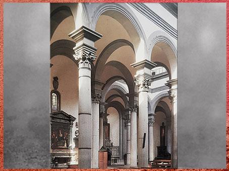 D'après la basilique Santo Spirito, arcs en plein cintre, plans de Brunelleschi, vers 1444, Florence, XVe siècle, Quattrocento, Renaissance italienne. (Marsailly/Blogostelle)