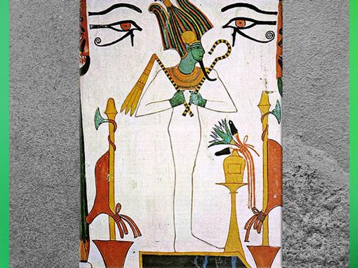 D'après le dieu Osiris, souverain de l'Éternité, avec sceptre-crochet et flabellum, tombe de Sennedjem, XIXe dynastie, Nouvel Empire, Égypte Ancienne. (Marsailly/Blogostelle)