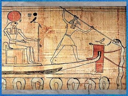 D'après le dieu Seth transperçant le serpent Apophis, papyrus funéraire de Heruben, XXIe dynastie, XIe siècle avjc, Égypte Ancienne. (Marsailly/Blogostelle)