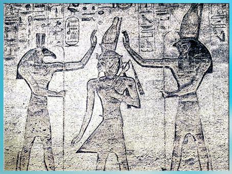 D'après Seth et Horus, couronnant Ramsès II, temple de Ramsès II, 1279-1213 avjc, XIXe dynastie, Abou Simbel, Nouvel Empire, Égypte Ancienne. (Marsailly/Blogostelle)