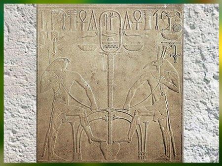 D'après Seth et Horus, le motif du Sema-Taouy, stèle du roi Thoutmosis, linteau, temple de Seth, XVIIIe dynastie, Nouvel Empire, Égypte Ancienne. (Marsailly/Blogostelle)