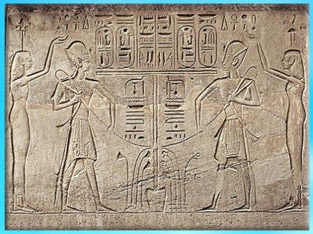 D'après Horus et Seth, autel, temple de Khons, la Haute et la Basse Égypte unifiées, Thèbes-Karnak, Égypte Ancienne. (Marsailly/Blogostelle)