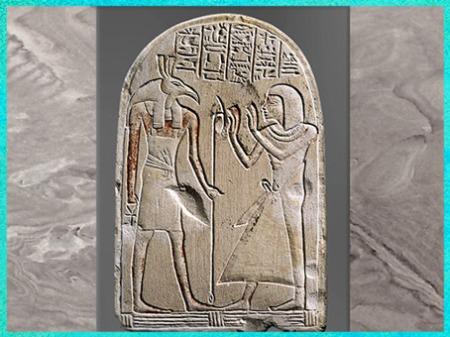 D'après le dieu Seth, portant le sceptre Ouas, stèle d'Aapehty, calcaire, fin XIXe dynastie, Nouvel Empire, Égypte Ancienne. (Marsailly/Blogostelle)