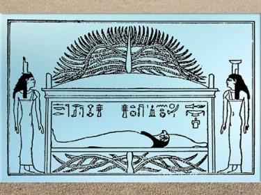 D'après le tombeau d'Osiris et son arbre, les déesses Isis et Nephtys, relevé d'un bas-relief, Ier siècle avjc, Denderah, époque Ptolémaïque, Égypte ancienne. (Marsailly/Blogostelle)