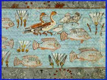 D'après le monde aquatique des marais du Nil, chapelle funéraire de Nebamun, peinture sur plâtre, vers 1350 avjc, XVIIIe dynastie, Thèbe, Nouvel Empire, Égypte ancienne. (Marsailly/Blogostelle)