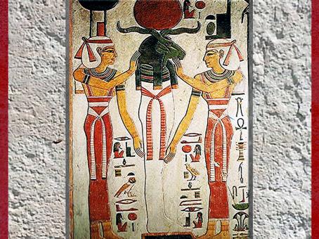 D'après Atoum-Rê en Osiris, Nephtys et la déesse Isis, tombe de Nefertari, épouse Ramsès II, XIXe dynastie, Vallée des rois, Nouvel Empire, Égypte ancienne. (Marsailly/Blogostelle)