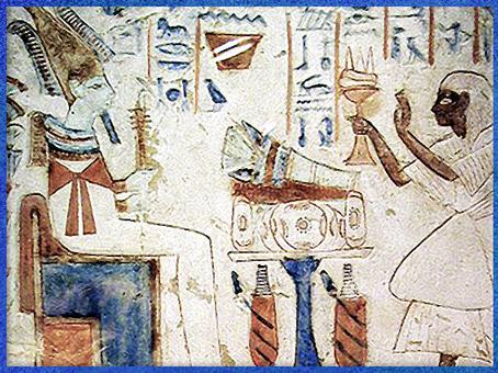 D'après Osiris le pilier Djed en main, stèle funéraire, fausse porte de Shespy, Abydos, VIe dynastie Ancien Empire, Égypte ancienne. (Marsailly/Blogostelle)