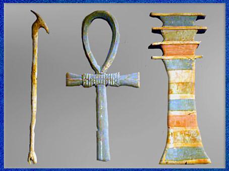 D'après le sceptre Ouas (bois), Ankh (faïence) et le pilier Djed (bois peint), symboles de Puissance, de Vie et de Stabilité, XVIIIe dynastie, règne d'Amenophis II, Nouvel Empire, Égypte ancienne. (Marsailly/Blogostelle)