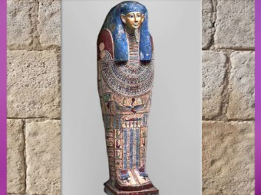 D'après un sarcophage momiforme, bois peint, provenance Akhmim, Haute-Égypte, vers 250 avjc, époque Ptolémaïque, Égypte ancienne. (Marsailly/Blogostelle)