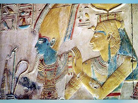 D'après Osiris et la déesse Isis, chapelle d'Horus, temple du roi Sethi Ier, Abydos, XIXe dynastie, Nouvel Empire, Égypte ancienne. (Marsailly/Blogostelle)