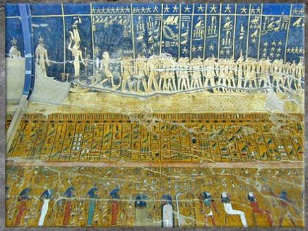D'après le plafond céleste de la tombe de Séthi Ier, peintures, XIXe dynastie, Vallée des Rois, Nouvel Empire, Égypte ancienne. (Marsailly/Blogostelle)