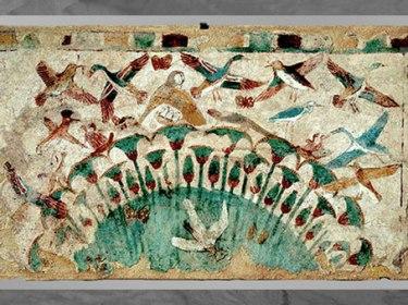D'après Les marais du Nil, oiseaux et papyrus, tombe de Neferhotep, peinture sur limon, vers 1450 - 1400 avjc, XVIIIe dynastie, Thèbes, Égypte ancienne. (Marsailly/Blogostelle)