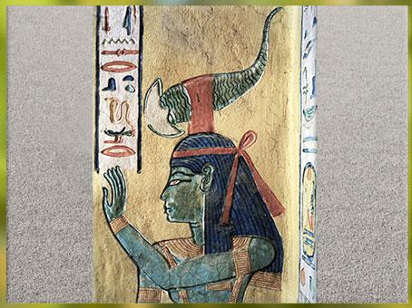 D'après la déesse scorpion Selket, peinture, tombe de Khâemouaset, fils de Ramsès III, vallée des reines, XXe dynastie, Thèbes, Nouvel Empire, Égypte ancienne. (Marsailly/Blogostelle)