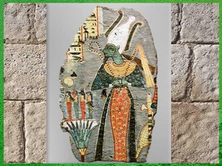 """D'après Osiris, souverain de l'au-delà, devant les """"Quatre Fils d'Horus"""", tombe de Kynebu, règne Ramsès VIII, Thèbes, XXe dynastie, Égypte ancienne. (Marsailly/Blogostelle)"""