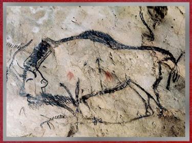 D'après un bison criblé de flèches, grotte de Niaux, vers 14 000 -12000 avjc, magdalénien, Ariège, France, paléolithique supérieur. (Marsailly/Blogostelle)