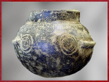 D'après une poterie, motifs de rouelles, vase type chasséen, terre cuite, Montélimar, France, néolithique. (Marsailly/Blogostelle)