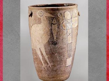 D'après un vase funéraire, motifs cigogne, poisson et hache, terre cuite, vers 3900-3000 avjc, culture de Yangshao, IVe millénaire avjc, Shanxian, Henan, néolithique, Chine ancienne. (Marsailly/Blogostelle)