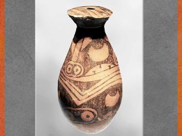 D'après une bouteille, terre cuite peinte, motifs yeux et lunes, culture de Yangshao, 5000- 2500 avjc, Jiangzhai, Lintong, Shaanxi, néolithique, Chine ancienne. (Marsailly/Blogostelle)
