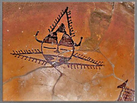 D'après un bassin, terre cuite peinte, masque sorcier, détail, Banpo, culture de Yangshao, 5000- 2500 avjc, néolithique, Chine ancienne. (Marsailly/Blogostelle)