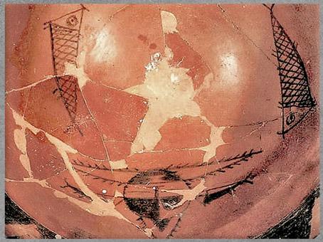 D'après un bassin, terre cuite peinte, masque sorcier et poissons, détail, Banpo, culture de Yangshao, 5000- 2500 avjc, néolithique, Chine ancienne. (Marsailly/Blogostelle)
