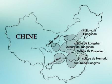 D'après une carte des principaux sites néolithiques, Chine ancienne (source cnrs). (Marsailly/Blogostelle)