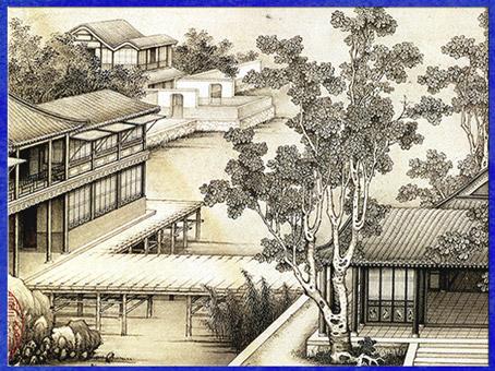 D'après l'album Paysages, peinture de Jiao Bingzhen (1689-1726), encre sur papier, détail, époque dynastie Qing, Chine ancienne. (Marsailly/Blogostelle)