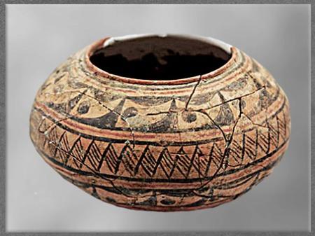 D'après une jatte, terre cuite, frises stylisées, culture de Dawenkou, 4500 - 2000 avjc, néolithique, Chine ancienne. (Marsailly/Blogostelle)