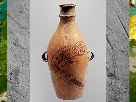 D'après une bouteille, céramique, motif glouton-dragon, terre cuite peinte, civilisation de Yangshao, 5000- 2500 avjc, néolithique, Chine ancienne. (Marsailly/Blogostelle)