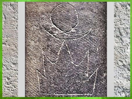 D'après un vase, pictogrammes, détail, Soleil, Lune, Montagne, céramique incisée, 2800-2500 avjc, Juxian, Shandong, culture de Dawenkou, néolithique, Chine ancienne. (Marsailly/Blogostelle)