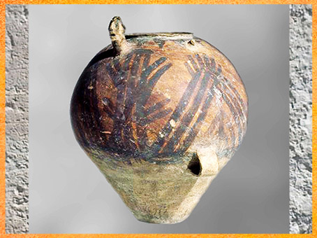 D'après une jarre, tête humaine en relief, céramique peinte, culture de Majiayao-Machang, 2400-2000 avjc, province de Qinghai, néolithique, Chine ancienne. (Marsailly/Blogostelle)
