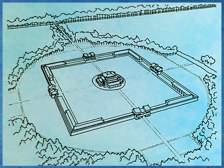 """D'après une restitution de Chang'an, """"paix perpétuelle"""", capitale impériale des Han, (IIIe siècle avjc - IIIe siècle apjc), Shaanxi, Chine ancienne. (Marsailly/Blogostelle)"""