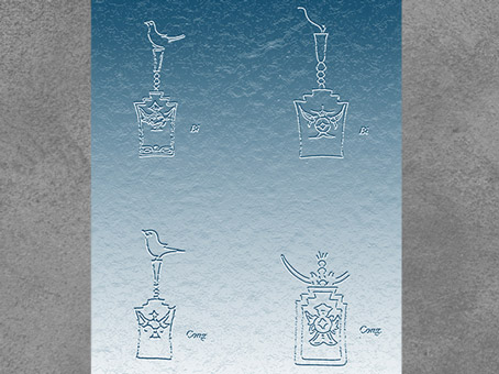 D'après des pictogrammes de jades bi et cong, culture de Liangzhu, 3300-2000 avjc, néolithique, Chine ancienne. (Marsailly/Blogostelle)