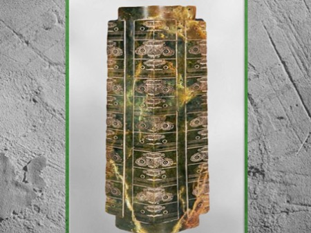 D'après un jade cong, à étages multiples, motifs mufle-taotie, 3200-2200 avjc, culture de Liangzhu, néolithique, Chine ancienne. (Marsailly/Blogostelle)