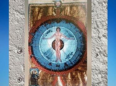 D'après L'être humain au Centre de l'Univers, de la Nature et des 4 éléments, Le Livre des œuvres Divines, 1174 apjc, Hildegarde de Bingen. (Marsailly/Blogostelle)