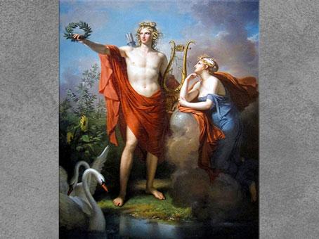 D'après Apollon, dieu de la poésie et des Arts, et la muse Uranie, de Charles Meynier, 1798, huile sur toile, XVIIIe siècle. (Marsailly/Blogostelle)