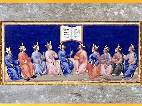 D'après le Paradis, rois, de Giovanni di Paolo, 1450, Divine Comédie, Toscane, XVe siècle, Renaissance. (Marsailly/Blogostelle)