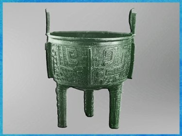 D'après une marmite shi ding, pour la nourriture, bronze, un caractère, fin dynastie Shang, XIVe-XIe siècle avjc, âge du Bronze, Chine ancienne. (Marsailly/Blogostelle)