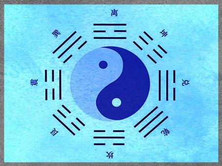 """D'après le symbole chinois du Yin-Yang et les huit trigrammes du Yi King, """"Livre des mutations"""" (ou """"Livre des transformations""""), Chine ancienne. (Marsailly/Blogostelle)"""