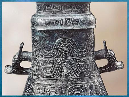 D'après un bronze rituel, Yin Gou fanghu, pour boissons alcoolisées, avec 21 caractères, détail, Zhou occidentaux, XIe-VIIIe siècle avjc, Chine ancienne. (Marsailly/Blogostelle)