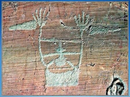 D'après la stèle du Chef de tribu, dit Le Sorcier, art rupestre, mont Bego, Vallée des Merveilles, fin IIIe-début IIe millénaire avjc, Alpes Maritimes, âge du Cuivre et du Bronze. (Marsailly/Blogostelle)