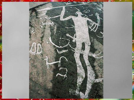 D'après un personnage dit Le dieu à la lance, art rupestre scandinave, Tanum, Suède, âge du Bronze. (Marsailly/Blogostelle)